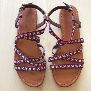 Indigo Road Red White Blue Flat Strappy Sandals